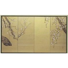 Japanese Silk Screen: White Plum Blossoms via Online Shopping Japan Japanese Wall, Japanese Screen, Japanese Prints, Chinese Patterns, Bonsai Art, Asian Home Decor, Painted Leaves, China Painting, Custom Art