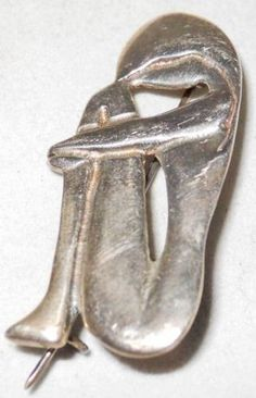 Nude Erotic Naked Woman Vintage Mid Century Modernist Sterling Silver 925 Pin