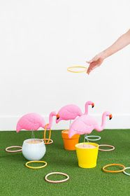 This fun backyard games idea, our DIY Flamingo Ring Toss Game is an entertaining hit for kids and adults and even for those without a yard. Diy Yard Games, Diy Games, Backyard Games, Backyard Ideas, Flamingo Party, Kids Crafts, Summer Crafts, Creative Crafts, Outdoor Games For Kids