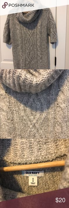 "NWOT Cowl cable knit tunic sweater Old Navy rib cowl neck, cuffs and hem, fitted short sleeves, cable knit patterns in front and at sleeves. Soft medium weight wool blend fitted through body hits at hip (or lower if you are 5'4"" or less). Old Navy Sweaters Cowl & Turtlenecks"