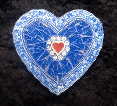 Mosaic blue vintage heart by Ruth Ames-White