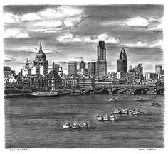St Pauls Cathedral and London skyline with River Thames - drawings and paintings by Stephen Wiltshire MBE