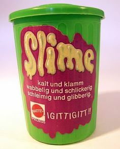 green slime in trashcan,. jeez i remember that stuff started to smell really really bad after some time Ben And Jerrys Ice Cream, Old Toys, Coffee Cans, Slime, Childhood Memories, Canning, Desserts, Food, Google Search
