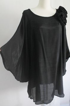 Plus Size 3X Black Lightweight Cotton Top Poncho Ladies Tunic Blouse Round Neckline Dolman Sleeves with Flowers