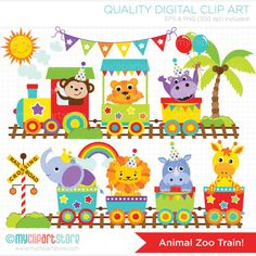 Clipart  Animal Zoo Train  Digital Clip Art by MyClipArtStore