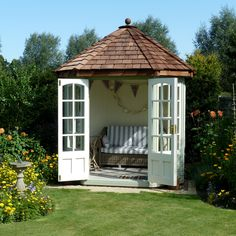 Find premium Summerhouses and Garden Rooms at Malvern Garden Buildings. View our range online or visit a showsite to save on all garden buildings. Small Summer House, Summer House Garden, Dream Garden, Home And Garden, Summer Houses, Garden Arbour Seat, Garden Seating, Octagonal Summer House, Cedar Cladding