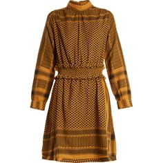 Cecilie Copenhagen Mieka high-neck scarf-jacquard cotton dress ($190) ❤ liked on Polyvore featuring dresses, dark yellow, yellow dress, jacquard dress, yellow cotton dress, long sleeve print dress and anchor print dress