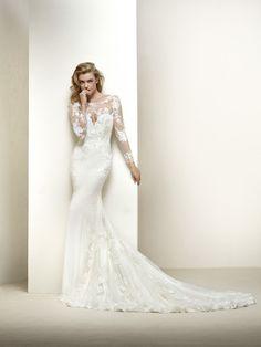 Brautkleid Ausschnitt mit Tüllpasse - Drakar