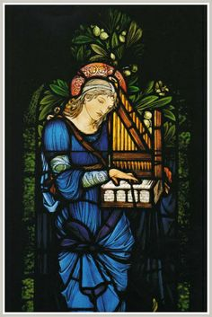 Saint Cecilia window at Second Presbyterian Church (Chicago, Illinois), designed by Burne-Jones and executed by William Morris & Co. Stained Glass Church, Stained Glass Art, Stained Glass Windows, Arts And Crafts Movement, William Morris, Birmingham, Stained Glass Patterns Free, National Landmarks, Edward Burne Jones