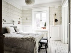 Bedroom In A Bright Scandinavian Apartment With A Glass Dividing Wall - Gravity Home