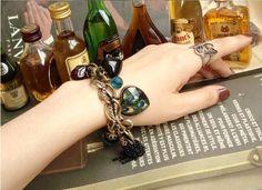 Vintage color stone bracelet with peacock pendant - $4.99USD