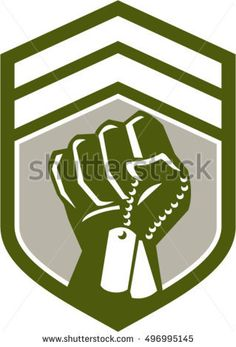 Illustration of a clenched fist clutching holding dogtag viewed from front set inside shield crest done in retro style.   #memorialday #retro #illustration