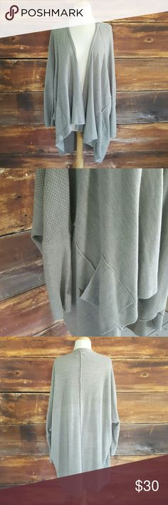 Sloppy Pocket Cardigan Gray cardigan with pockets. Longer in the back. Ribbed sleeves with eyelet details around shoulders and chest. Great condition. Purchased from Nordstrom RACK. Sweaters Cardigans