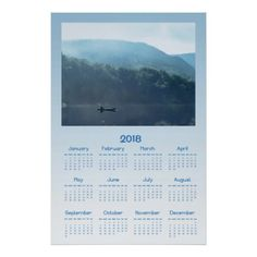 Fishing on Lake 2018 Scenic Nature Calendar Poster - blue gifts style giftidea diy cyo