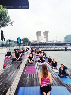 "Part of Women's Health Fit For Summer event I taught yoga to 70 women on the beautiful terrace of the ""Muziekgebouw aan het IJ"" in Amsterdam."