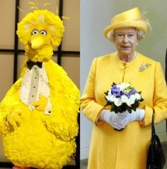 Big Bird and Queen Elizabeth
