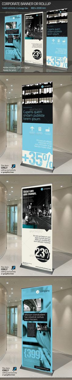 Buy Corporate Banner or Rollup by Paulnomade on GraphicRiver. Modern and clean design for banner/rollup. Web Design, Logo Design, Brochure Design, Layout Design, Print Design, Ideas For Logos, Pull Up Banner Design, Rollup Design, Trade Show Design