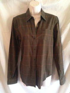 Lauren Ralph Lauren Brown Checker Long Sleeve Button Down Blouse S Top #RalphLauren #ButtonDownShirt #Casual