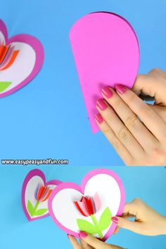 Mothers Day Crafts For Kids Discover Tulip in a Heart Card Paper Craft for Kids Be still my heart! This tulip in a heart card is the cutest card your kids can make either for Valentines day or mothers day. Paper Crafts For Kids, Preschool Crafts, Easter Crafts, Diy For Kids, Fun Crafts, Arts And Crafts, Toddler Crafts, Card Making For Kids, Diy Easter Cards