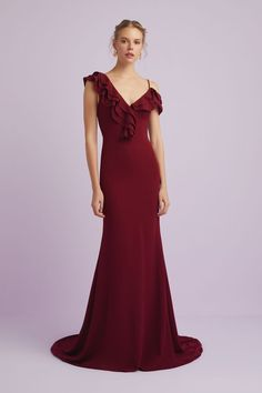 This Sophisticated modern gown, is perfect for any formal event and will defiantly turn heads! The gown is made from a beautiful crepe fabric and features an asymmetrical ruffled neckline and a gorgeous train. Designer Wedding Dresses, Bridal Dresses, Bridesmaid Dresses, Occasion Wear, Occasion Dresses, Crepe Fabric, Beautiful One, Formal Gowns, Dress Making