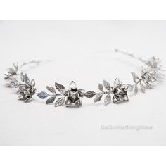 Grecian Silver Metal Leaf and Flower Headband Silver Wedding Headpiece... ($55) ❤ liked on Polyvore featuring accessories, hair accessories, headbands & turbans, silver, tiara headband, headband tiara, silver hair accessories, flower tiara and silver leaf headband