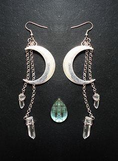 Moon Earrings Luna Quartz Crystal Points Hippie by SierDreamS