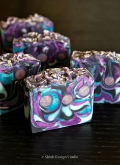 Soap & Restless: Color Inspiration - Mulberry Frost Soap. Love the colors on this one!