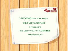 """#Quote for the day!!! #mondaymotivation #Monday - """" """" SUCCESS ISN'T JUST ABOUT WHAT YOU ACCOMPLISH IN YOUR LIFE,IT'S ABOUT WHAT YOU INSPIRE OTHERS TO DO    """""""