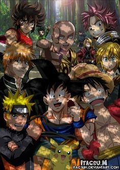 Crossover of the best by ItacsuM on DeviantArt Otaku Anime, Anime Naruto, Anime One, Naruto Shippuden Anime, Manga Anime, Anime Crossover, Anime Comics, All Anime Characters, Image Manga