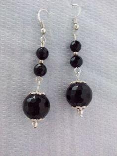 Boucles d'oreille en onyx noir,pierre de gemmes,argent,retro,romantique,boheme