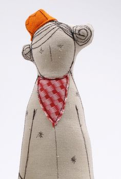 Princess and dwarf Canvas handmade dolls in pink red and orange Checked and…
