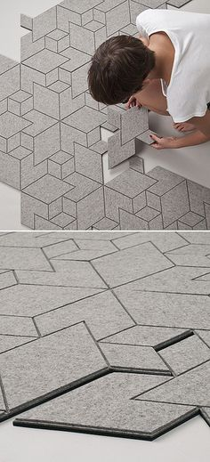 Inspired by pavement patterning, Cityscapes is a tiled felt textile that…