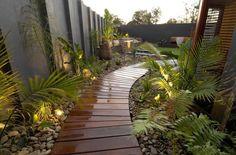 Wooden Path contemporary landscape by imag_ne design + construction Tropical Backyard Landscaping, Landscaping Melbourne, Modern Backyard, Tropical Garden, Landscaping Ideas, Walkway Ideas, Path Ideas, Backyard Ideas, Backyard Designs