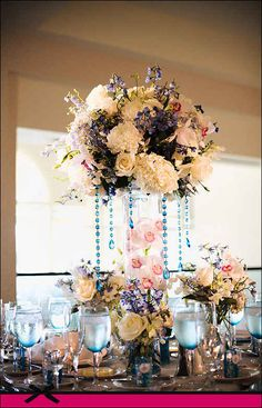 Beads hanging & to match the colors of the glassware