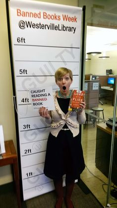 Jen from Youth Services got caught reading Lord of the Flies! #bannedbooksweek