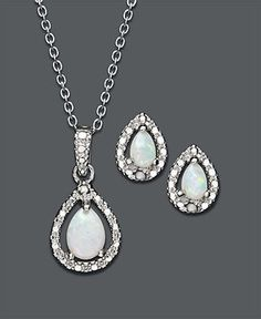 Victoria Townsend Sterling Silver Jewelry Set, Opal (5/8 ct. t.w.) and Diamond Accent Teardrop Pendant and Earrings Set