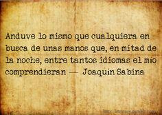 Anduve lo mismo que cualquiera en busca de unas manos que, en mitad de la noche, entre tantos idiomas, el mio comprendieran. Joaquin Sabina