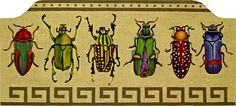 These are the coolest beetles and I don't even like bugs. That didn't slow me up. Brenda Hart was here so I had to stitch them and together we wrote the stitch guide. 16″ x 7″ handpainted on 13ct. Also available as a pillow.