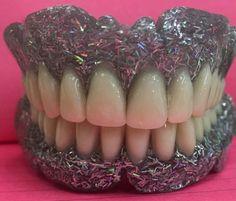Sparkly denture gums. Whoa! #dentistry