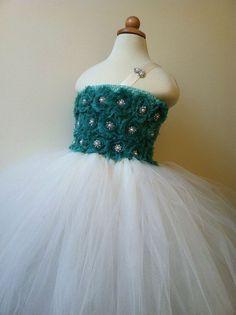 Flower girl dress  tutu dress teal, ivory chiffton roses, baby tutu dress, toddler tutu dress. Newborn - size 7 child