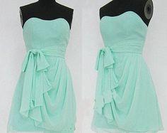 Mint Bridesmaid Dress, Sweetheart Neck Short Chiffon Bridesmaid Dress, Bridesmaid Dress with Sash