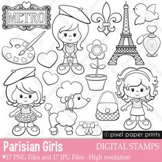 Parisian Girls - Digital stamps - Paris clipart - Line art from Pixel Paper Prints Paris Clipart, Dibujos Cute, Clip Art, Digital Stamps, Embroidery Designs, Ribbon Embroidery, Machine Embroidery, Coloring Pages, Doodles
