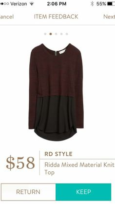 Stylist: cute top! Love the colors! RD Style Ridda Mixed Material Knit Top