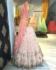 Soft pink and silver lehenga for an Indian bride wedding events Indian Wedding Outfits, Bridal Outfits, Indian Outfits, Bridal Dresses, Indian Clothes, Desi Clothes, Prom Dresses, Indian Lehenga, Red Lehenga