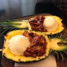 """This reminds me of those recipe cards mom got at the grocery store in the 70's but looks kinda awesome too - Teriyaki chicken in a damn pineapple.   50 Things That Will Make You Say """"What A Time To Be Alive"""""""