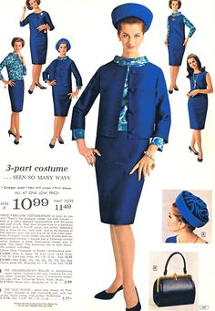 coordinated 60s look blue suit dress jacket shell top blouse straight skirt hat gloves purse color photo print ad model magazine