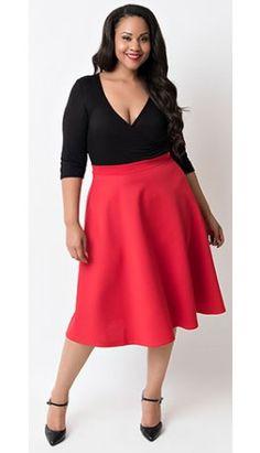 Plus Size Red High Waist Scuba Swing Skirt