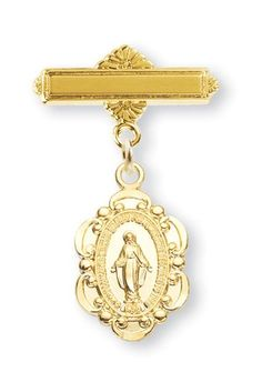 Fancy St. Mary Miraculous Medal Gold over Sterling Silver Baby Medals, Baby Pin, Great for Christening, Baptism or First Communion (Attach to Tie) HMH001 http://www.amazon.com/dp/B00T585JU4/ref=cm_sw_r_pi_dp_IJMnvb0M9WKWY