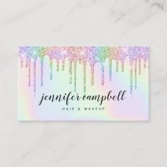 Shop Holographic unicorn makeup hair glitter drips glam business card created by moodii. Personalize it with photos & text or purchase as is! Salon Business Cards, Hairstylist Business Cards, Makeup Artist Business Cards, Elegant Business Cards, Business Card Design, Business Stationary, Business Ideas, Holographic Makeup, Holographic Glitter