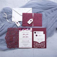 Burgundy Wedding Invitation https://www.etsy.com/listing/621708429/burgundy-laser-cut-wedding-invitation